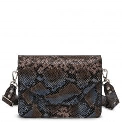 Adax Rosemary Shoulder Bag - Blue Snake Print