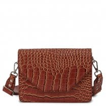 Adax Rosemary Shoulder Bag - Brown Croco Print