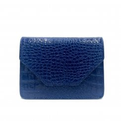 Adax Rosemary Shoulder Bag - Navy Blue Croco Print
