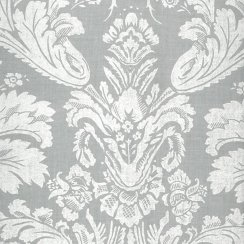 Au Maison Oilcloth Victorian Baroque Dusty Blue - Price per metre