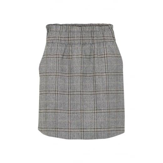 B.Young Grey Check Skirt