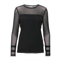 B.Young Long Sleeve Mesh Blouse