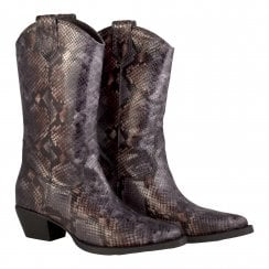 Billi Bi 3/4 Length Boot - Grey Multi Snake Print