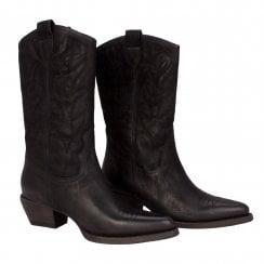 Billi Bi 3/4 Nubuck Cowboy Boot - Black