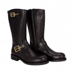 Billi Bi Black Biker Boot with Gold Buckles