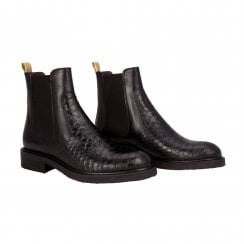 Billi Bi Black Leather Ankle Boot with Gold Stripe