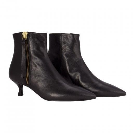 Billi Bi Black Nappa Boot with Gold Zip