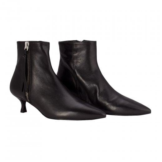 Billi Bi Black Nappa Boot with Silver Zip