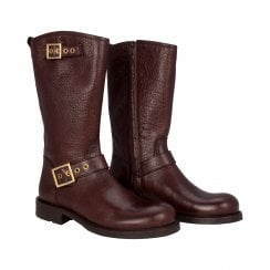 Billi Bi Brown Biker Boot with Gold Buckles