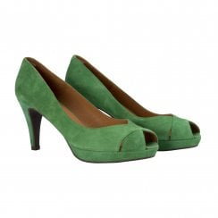 Billi Bi Peep Toe Shoe -  Green Amazon Suede