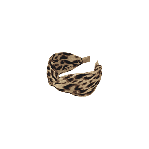 Black Colour Headband - Leo Print Natural