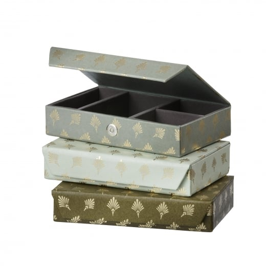Danish Collection Dark Green Feather Patterned Jewellery Box - Medium
