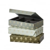 Danish Collection Green Feather Patterned Jewellery Box - Medium