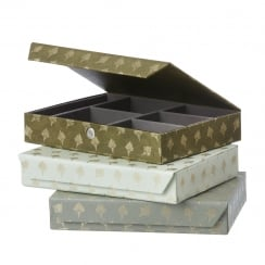 Danish Collection Mint Feather Pattern Jewellery Box - Large