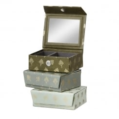 Danish Collection Mint Feather Patterned Jewellery Box - Small