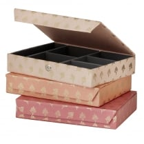 Danish Collection Peach Feather Patterned Jewellery Box - Large