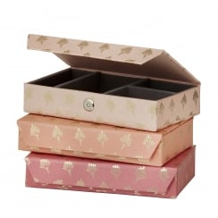 Danish Collection Pink Feather Patterned Jewellery Box - Medium