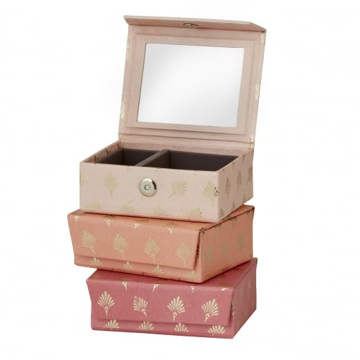 Danish Collection Pink Feather Patterned Jewellery Box - Small