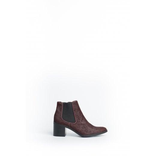 Cara London Blair Pony Ankle Boots - Plum