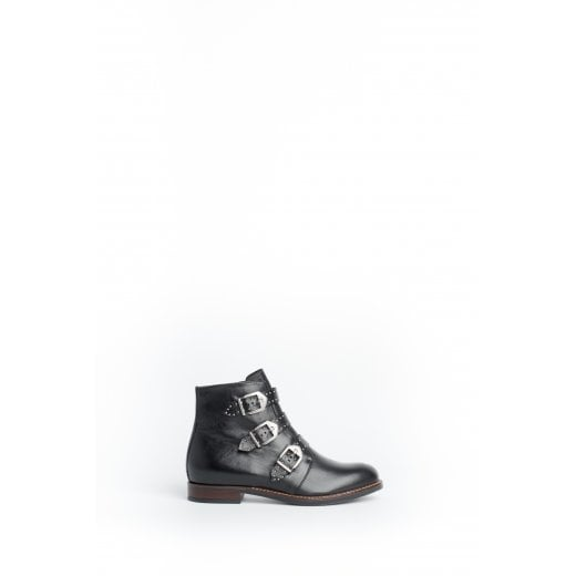 Cara London Jericho Flat Ankle Boot - Black