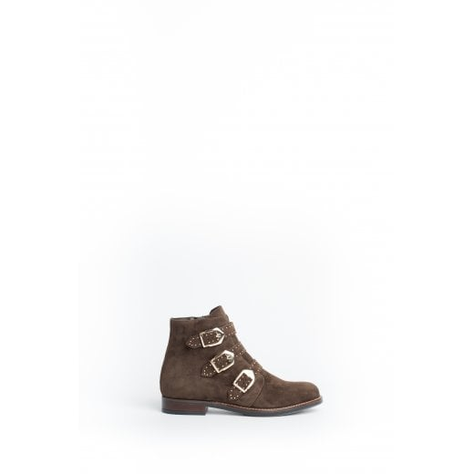 Cara London Jericho Flat Ankle Boot - Khaki