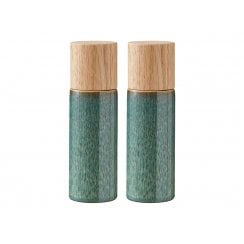 CHRISTIAN BITZ Green Stoneware Salt & Pepper Set