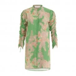 Coster Copenhagen Shirt with Tie String at Sleeves - Green Print