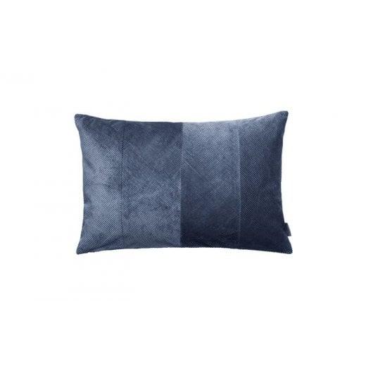 Cozy Living Corduroy Herringbone Cushion - Royal Blue/Gold