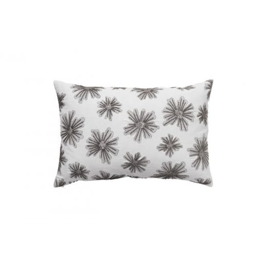 Cozy Living Embroidered Flower Cushion - Platinum