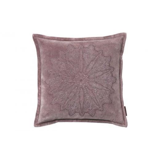 Cozy Living Velvet Mandala Embroidery Cushion - Rust