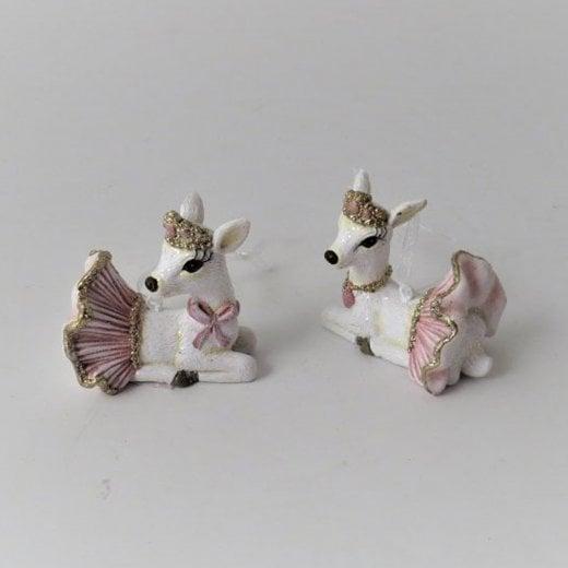 Danish Collection Ballerina Reindeer Figurine - White