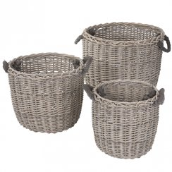 Danish Collection Basket with handle MEDIUM grey H45cm