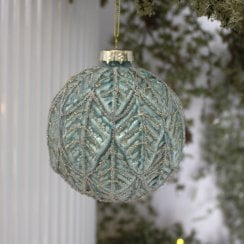 Danish Collection Bauble Beaded Pattern - Dark Mint D10cm