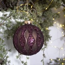 Danish Collection Bauble - Burgundy H10cm