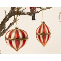 Danish Collection Bauble Candy Stripe Opens - Droplet Shape H11cm