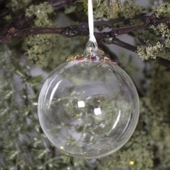 Danish Collection Bauble - Clear glass with multi coloured crystals H8cm