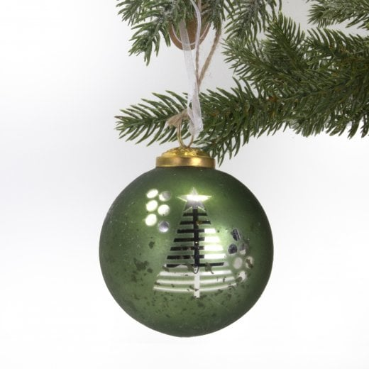Danish Collection Bauble - Green Glass With Tree H8cm