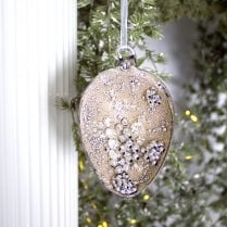 Danish Collection Bauble - Half egg with silver and gold beading D10cm
