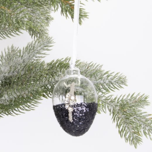Danish Collection Bauble - Silver Glass Drop Navy Blue H6cm