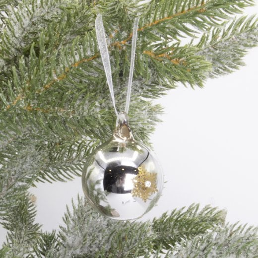 Danish Collection Bauble - Silver glass with gold stars H4cm