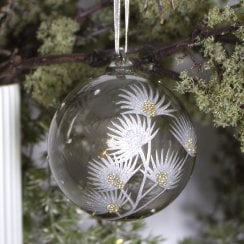 Danish Collection Bauble - Smoked grey handpainted with silver and gold D8cm