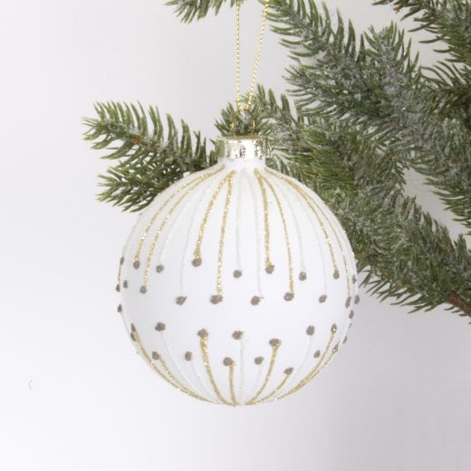 Danish Collection Bauble - White With Gold H8cm