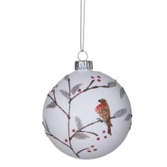 Danish Collection Bauble with Robin