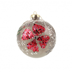 Danish Collection Bauble With Sequins and Beads  - Grey/Pink D10cm