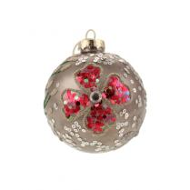 Danish Collection Bauble With Sequins and Beads  - Grey/Pink D8cm