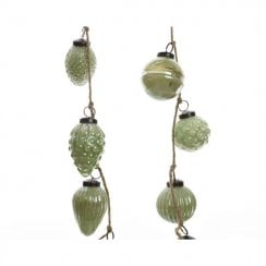 Danish Collection Baubles Hanging on Jute Rope - Eucalyptus
