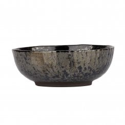 Danish Collection Birch Stoneware Bowl - Black Metallic