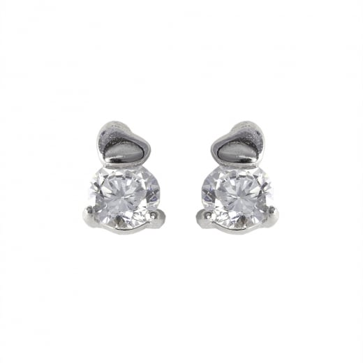 Danish Collection Bird Topped Silver Stud Earrings