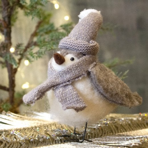 Danish Collection Bird with Bobble Hat - Grey