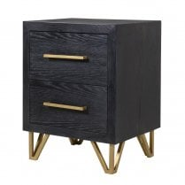 Danish Collection Black 2 Drawer Bedside Local Delivery Only